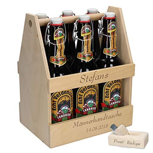 Bierflaschenträger aus Holz mit Gravur + Bierhobel Flaschenöffner Personalisierter Flaschenkorb für 6 Flaschen 0,5L & 0,33L | Super Vatertagsgeschenk | ZUM SELBSTGESTALTEN (Einladungen Die Sie Personalisieren)