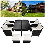 Hengda® 4+4+1 Poly Rattan Sitzgruppe Cube Design 5cm dicke Auflagen creme platzsparend Sitzgarnitur Gartengarnitur Rattanmöbel Gartenmöbel