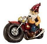 Cooler Zwerg auf einem Motorrad aus Keramik mehrfarbig Höhe 28 cm Breite 35 cm