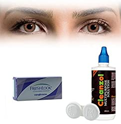 Freshlook Colorblends Contact Lens with Lens Case & Solution - 2 Pieces (-8,Honey)