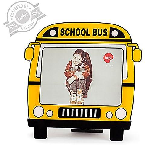 Balvi 25442 - Marco para fotos, 13 x 18 cm con forma de autobús escolar, material acrílico