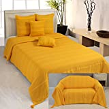 Homescapes Rajput Ribbed Throw 90 x 100 Inches Plain Tangerine Yellow Handmade 100% Cotton Suitable for most 3 Seater Sofas Double King bedspreads Easy care washable at home