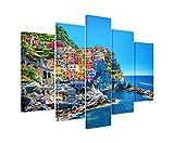 Bilderskulptur 5 teilig Breite 150cm x Höhe 100cm Landschaftsfotografie – Farbenfroher Hafen, Cinque Terre, Italien auf Leinwand exklusives Wandbild moderne Fotografie für ihre Wand in vielen Größen