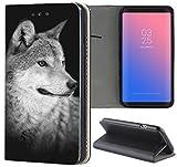 Samsung Galaxy J7 2017 J730 Hülle Premium Smart Einseitig Flipcover Hülle Galaxy J7 2017 Flip Case Handyhülle Samsung J7 2017 Motiv (1612 Wolf Schwarz Grau)