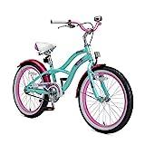 BIKESTAR Premium Sicherheits Kinderfahrrad 20 Zoll für Mädchen ab 6-7 Jahre | 20er Kinderrad Cruiser | Fahrrad für Kinder Mint
