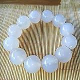 MGZDH 16mm natürliche Jade Ice Samen weiße Jade Mark Armband Männer und Frauen Hand Perlenreihe