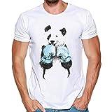 SmrBeauty® T-Shirt Uomo Camicetta Uomo Maglietta Uomo, Maglietta a Maniche Corte Kung Fu Panda personalità Muscolo Sottile Traspirante Assorbimento del Sudore Top (XL, Bianco)