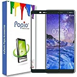 Nokia 7 Plus Edge To Edge Full Glue, No Rainbow, Full Front Body Cover Tempered Full Glass Screen Protector Guard - Crystal Black By POPIO®