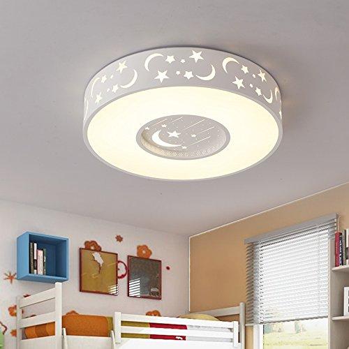 GQLBKinder Decke lampen Kreis Sterne Mond Mädchen Jungen Zimmer Schlafzimmer Lampen 400*400*100 mm, Weiß (Rechteckigen Schatten Lampe)