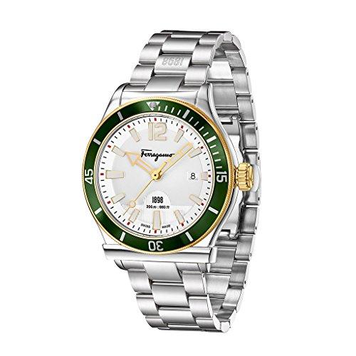 Salvatore Ferragamo 1898 Sport Men's Quartz Diver Watch with White Dial and Stainless Steel Bracelet FF3150014