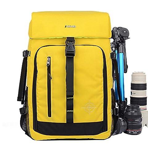 Polyester Multi Fonction Gadget Sac pour Appareil photo DSLR SLR imperméable anti-chocs Photographie Messenger Sac à bandoulière Sacs de voyage sac à dos sac à dos avec rembourrage et housse de pluie supplémentaire pour Canon EOS Nikon Sony Taille 52* * * * * * * * 28* * * * * * * * 18cm Jaune jaune