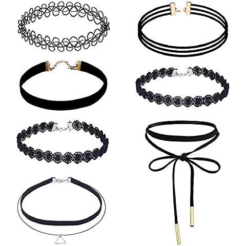 Conjunto de collar Sannysis collar mujer gargantilla de encaje (7 PCS)