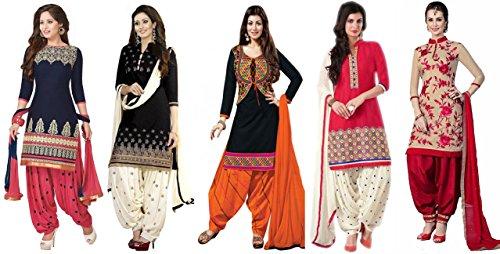 Market Magic World Women\'s Printed Unstitched Regular Wear Salwar Suit Dress Material (Combo pack of 5)(MMW_Combo_7087)(MMW_3001_Blue)(MMW_3029_Black)(MMW_3002_Red)(MMW_3008_Black)(MMW_3032_Red)