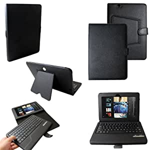 CaseGuru Integrated Leather Slim line Bycast Leather Case Cover featuring Viewing Stand, Button Clip Closure and Magnetic/Detachable Bluetooth Keyboard for 8.9 inch Amazon Kindle Fire HD