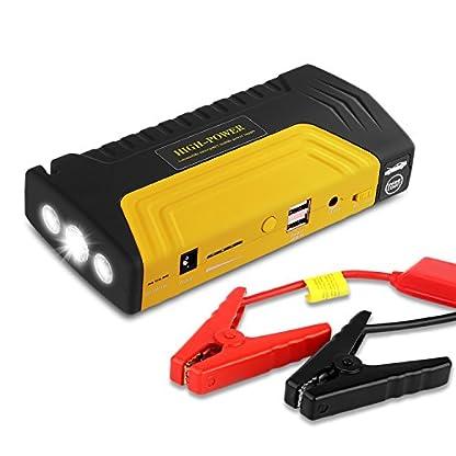 510i3b4710L. SS416  - Arrancador de Coche de 16800 mAh, YOKKAO, Jump starter Cargador para Baterías de 12V y Cargador de 12V, 16V y 19V, Batería Externa con Luces de Emergencia, Kit de Arranque para Coche, Moto y Cargador de Smartphone, Laptop, etc. (Amarillo)