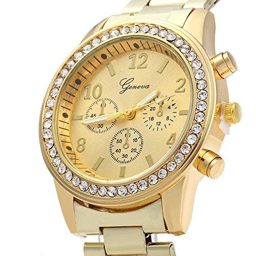 Leopard negozio strass orologio al quarzo decorativo piccolo doppio quadrante in acciaio oro
