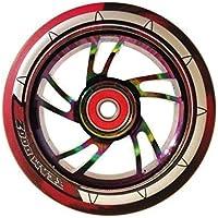 1 x Team Dogz 100mm Regenbogen Wirbel Alu Stund Roller Rad Mit Gemischt 88A PU Gummi Und Neo-chrom Öl Profilloser Jet-Fuel Kern