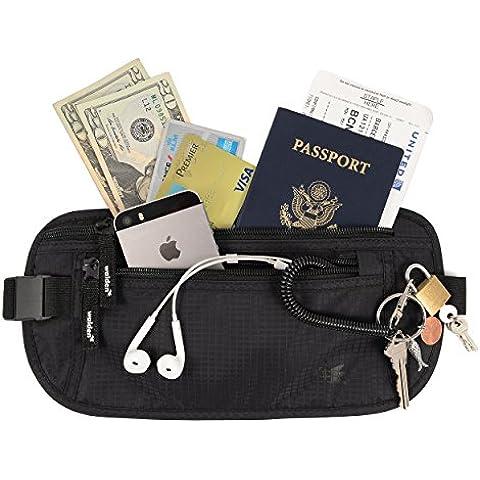 Delgada riñonera interior y bolsa de cintura (con bloqueo RFID) de Walden. Riñonera de viaje/oculta bajo la ropa para hombres/mujeres con 3 bolsillo robustas. Ideal para viaje, correr o