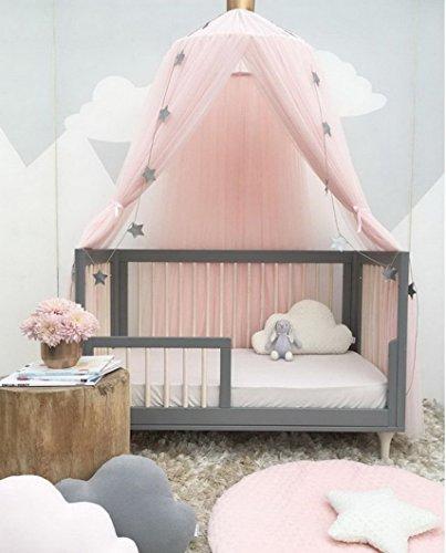 Betthimmel Baldachin Babybett, Restbuy Baldachin Kinderzimmer Betthimmel Moskitonetz Kinderbett Romantische Kuschel und Leseecke mit Himmelbett für ein Schlafzimmer (Rosa)