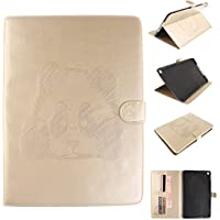 iPad Air 2 Housse, iPad 6 Coque - Slim-Fit étui Housse Coque Smart Case Cover pour Apple iPad Air 2 (iPad 6 6th Generation), Cozy Hut Panda Pattern PU Cuir Coque Stand Flip Etui Housse de Protection pour Apple iPad Air 2 (iPad 6 6th Generation) - d'or