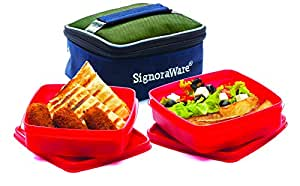 Signoraware Hot N Fresh Lunch Box with Bag, Deep Red