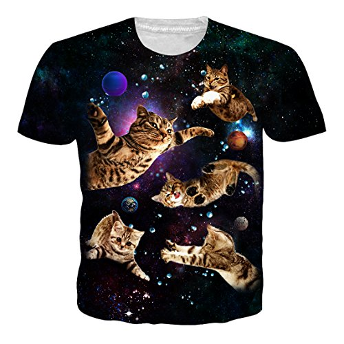 NEWISTAR Mens Funny Space Cat T Shirt Casual Graphic Tees M