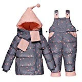 ZAMME Neugeborenes Baby Jungen mit Kapuze Daunenmantel + Schal + Schneehosen 3pcs Puffer Set