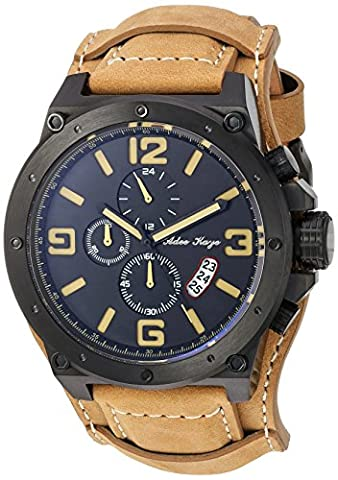 Adee Kaye Men's Quartz Stainless Steel and Leather Dress Watch, Color:Yellow (Model: