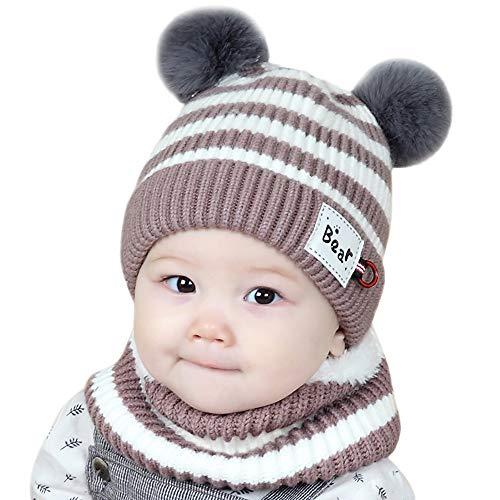 d6fd1d3b97f4 Chapeau Enfant ADESHOP Mode Enfants garçon Fille d hiver Chaud Bonnet  tricoté bébé écharpe Chapeau
