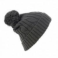 SOLS Barney Unisex Winter Pom Pom Beanie Hat (One size) (Dark Grey)
