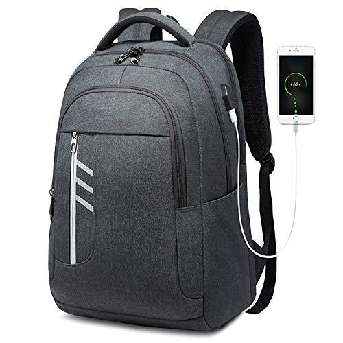 Laptop Rucksack Uni Studenten Rucksack mit 15.6-Zoll Laptopfach USB/Kopfhörer-Ladeanschluss Backpack Daypacks für Business, Uni oder Arbeit 35L Wasserdicht (Dunkelgrau)