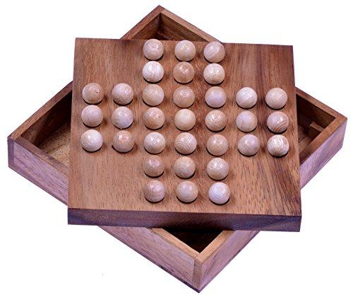 Solitär - Solitaire - Denkspiel - Knobelspiel - Geduldspiel - Logikspiel aus Holz mit Kugeln