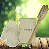 Dry Brush 100% Natural Boar Bristle Wooden Handle with Exfoliating Glove & storage Pouch Detoxes exfoliates Replenishes Massages the Skin