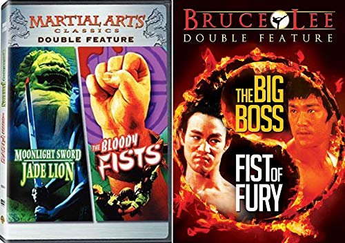 Fierce Martial Arts DVD 4 Movie Set - Fist of Fury & Big Boss Bruce Lee + MIDNIGHT SWORD & JADE LION Lady Kung Fu Classics Feature Film Favorites