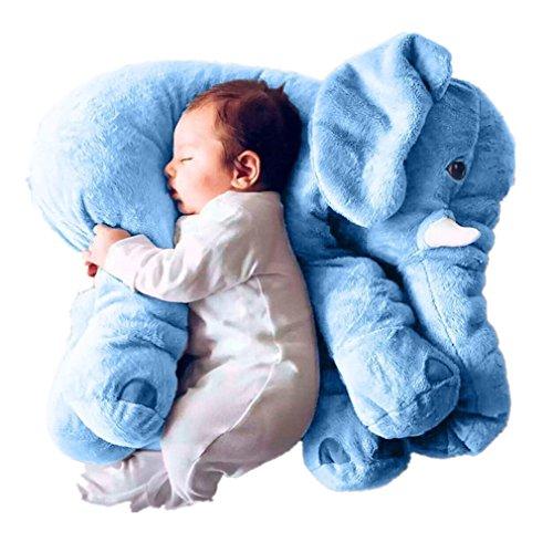 VADOO Baby Kinder Kissen Kleinkind Bett Grau Elefanten Kissen Gefüllte Plüsch Erzier Weiche Spielzeug Kissen 100% Baumwolle (Weichen Bett Kissen)