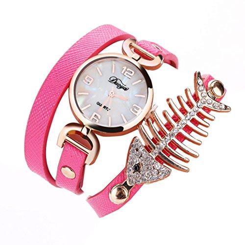 1 PC Damen Fisch Spezial Knochen Wicklung Analog Quartz Bewegung Armbanduhr Armband von CICIYONER (Pink)