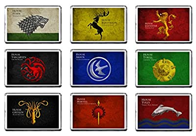Game Of Thrones - Sigils - Great Houses Of Westeros Set Of 9 Fridge Magnets (c)