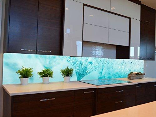 Dalinda Küchenrückwand (260 x 50cm) Küchenboard Küchenrückseite mit Design Pusteblume türkis KR135