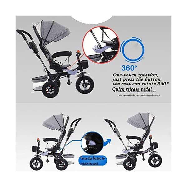 Haojiechunxiang Children's Tricycle Bicycle Baby Baby Stroller Child Car Bicycle Seat,B  ●Delivery Time 10-20 days. Please contact us if you cannot receive the order after 30 days.Return range 30 days ●Double brakes on the rear wheels, stop the brakes when parking to prevent the car from rolling ●A multi-purpose car, suitable for babies of different ages, according to the baby's different age stages, can be disassembled corresponding configuration 3