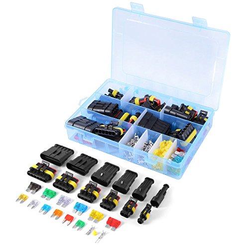 WINGONEER Auto Wasserdichte elektrische Steckverbinder Klemme 1/2/3/4/5/6 Pin Way + Sicherungen - 240PCS