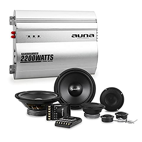 auna Silverhammer Car-HiFi-Set 2-Kanal-Endstufe + Lautsprecher Set (2200 Watt max. Verstärker, 2 x 1200 Watt Subwoofer, 2 x 1200 Watt Mitteltöner und 2 x 1,57