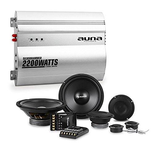 AUNA Silverhammer Impianto Audio Macchina Car HiFi 4800 Watt (Amplificatore 2 Canali, Crossover, 2 Subwoofer, 4 Casse Altoparlanti)