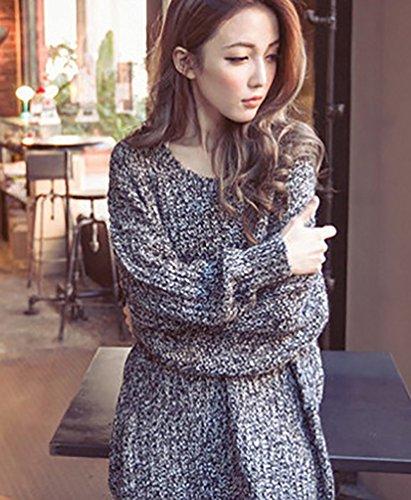 Minetom Femme Casual Manches Longues Pull Sweater Vrac Couleur Unie Tops Chandail Blouse Automne Et Hiver Gris