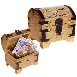 Casa Vivente Schatztruhe aus hellem Holz mit Gravur zur Hochzeit, Motiv Brautpaar, Personalisiert mit Namen und Datum, Verpackung für Geldgeschenke
