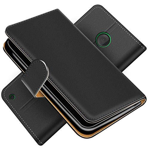 Conie Handytasche für Microsoft Lumia 530 Cover Schutzhülle im Bookstyle aufklappbare Hülle aus PU Leder Farbe: Schwarz