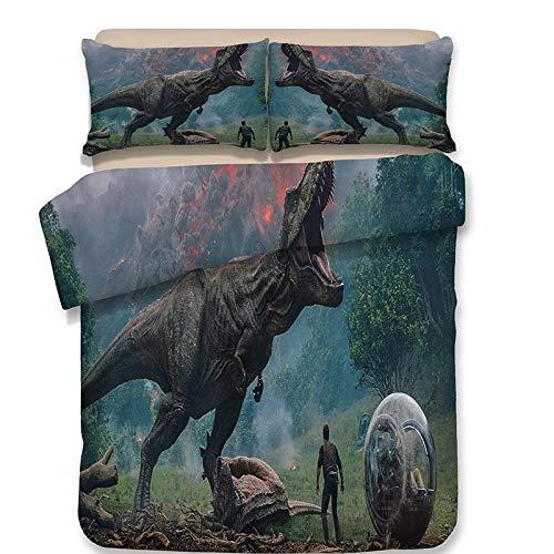 Fcao-Bettwäsche, 3D Dinosaurier Vintage Bettbezug Bettwäsche Set Kissenbezug Dragon Twin Voll Königin König Tröster Bettwäsche-Sets Bettwäsche Jurassic (Color : Style 9, Size : UK Double200x200) -