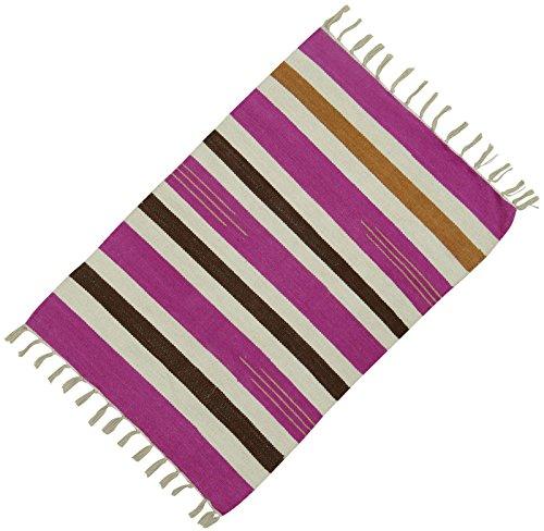 Dari Handgewebten Teppich Wurf Läufer Streifenmuster Baumwolle Jute-Matte Bodenteppich 36