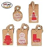 Amaza 100pcs Kraft Etichette L'albero di Natale Carta Regalo Tag Fai da te con Iuta Spago Etichette Natale per Pacchetti (5 Modelli)