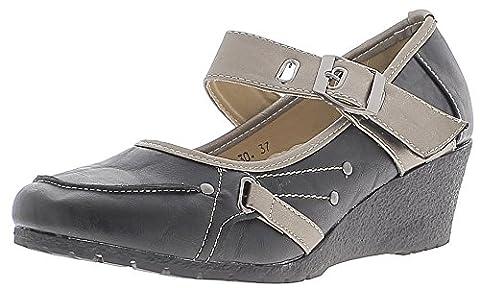 Chaussures femme noires et silver à talons compensés de 5,5