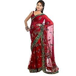 Buyonn Women's Net Georgette Saree (OFS1008-S7_Red_Free Size)